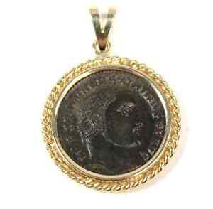 Ancient-Roman-Bronze-Coin-Emperor-Maximianus-Pendant-14kt-Yellow-Gold-Setting