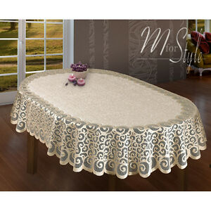 Captivating Image Is Loading Oval Lace Tablecloth Beige Large Premium Quality