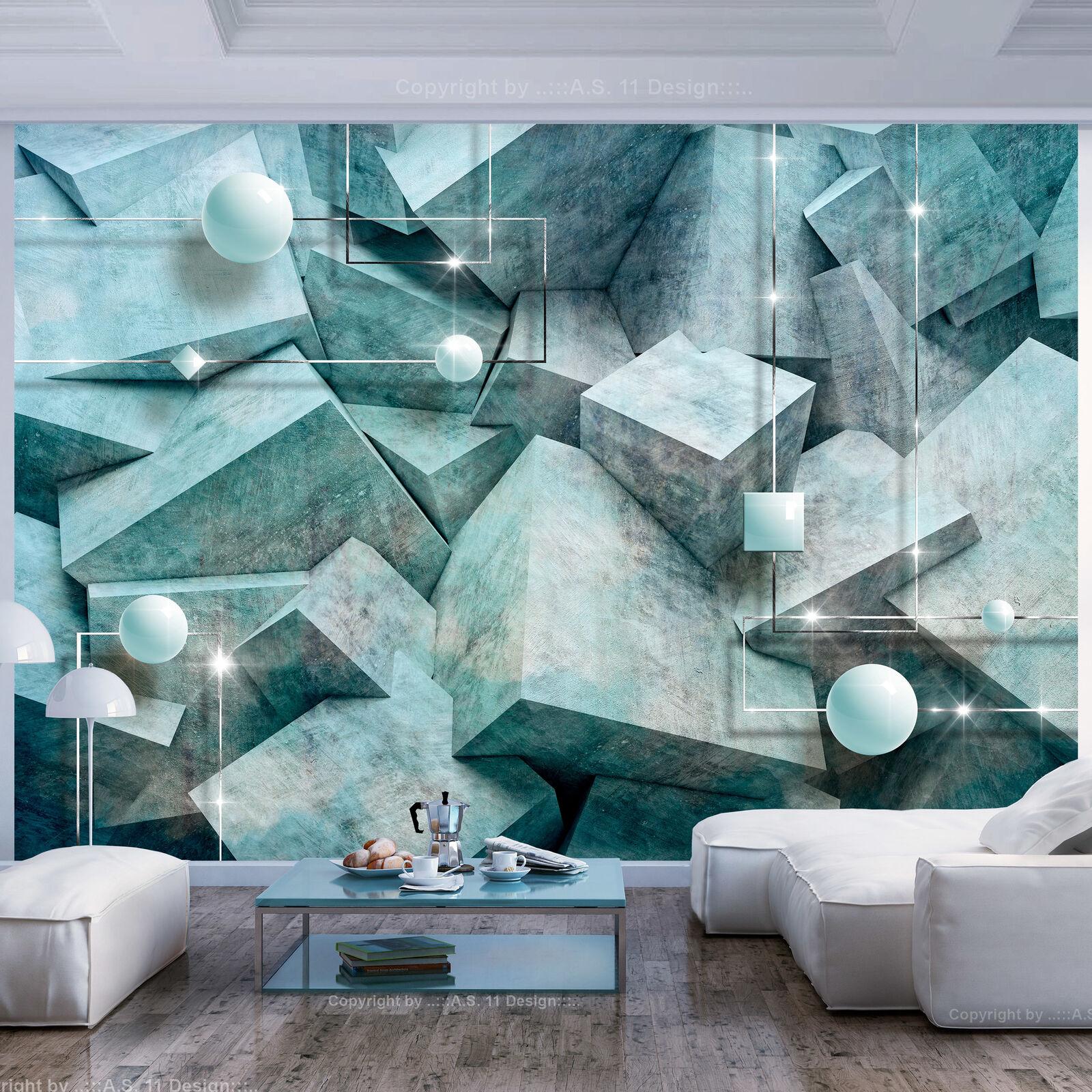 VLIES FOTOTAPETE Abstrakt grün Kugeln 3D effekt TAPETE WANBILDER XXL Wohnzimmer