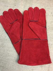 CLEARANCE-LOT-282389-WOOD-BURNER-STOVES-PAIR-LONG-GLOVES-GAUNTLETS-LEATHER