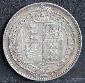 Victoria-Silver-Shilling-1887-S3926-Davies-Reverse-C-EF-no-1