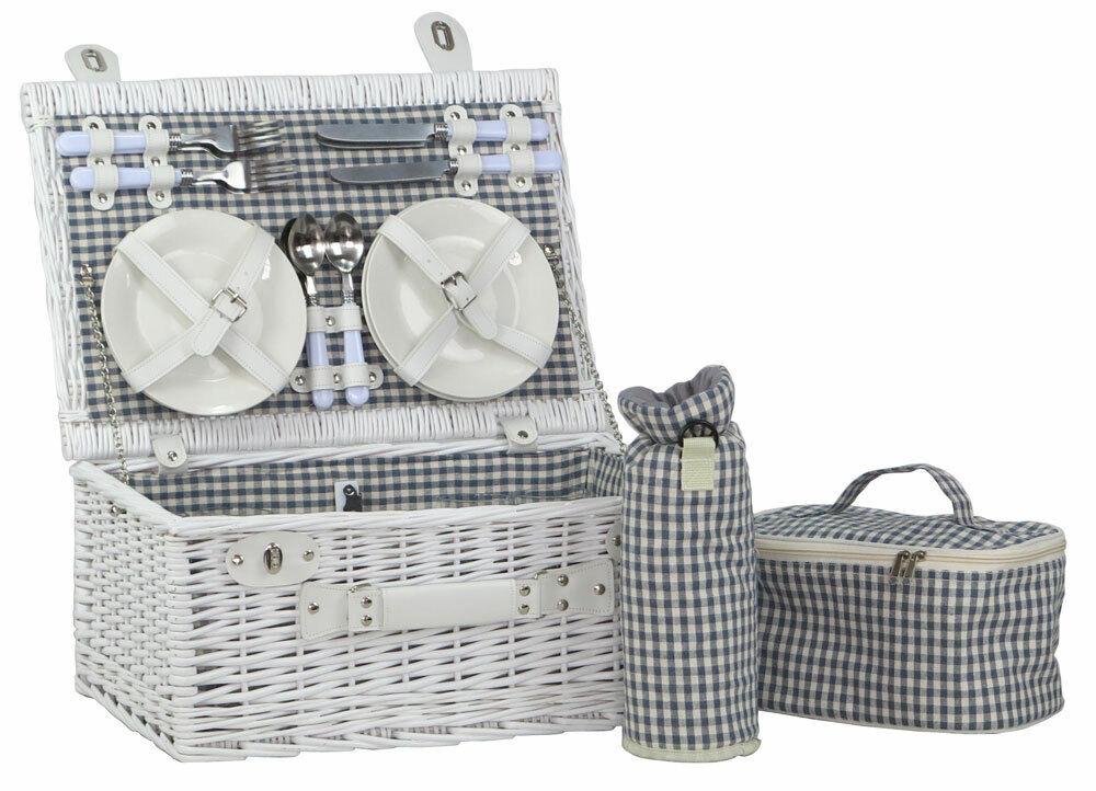 Picknickkorb Picknickkoffer Weide MALTA für 4 Personen Weiß mit 2 Thermotaschen