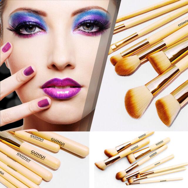 8Pcs Cosmetics Bamboo Concealer Highlight Contour Powder Makeup Brushes Tool Set