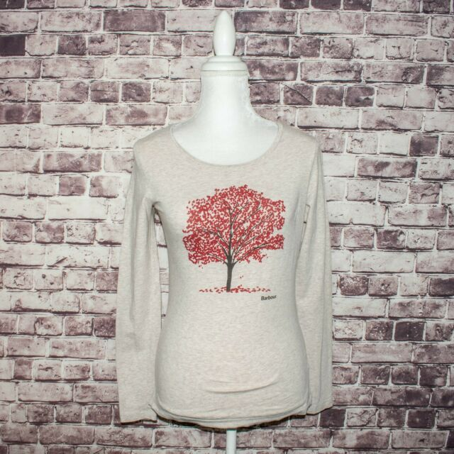 Barbour Women's Crew Neck Tee Shirt Long Sleeve Red Tree Print Sz 4