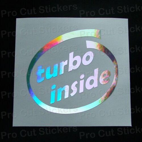 Turbo dentro de la ventana de cromo plateado holograma Neo Espejo Pegatina Calcomanía Coche De Parachoques