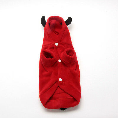 Winter Clothing For Small Dog Warm Coat Red Fleece Costume Outfit Hoodie XS-XL