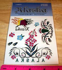 Alaska-Temporary-Tattoo-Glitter-Flowers-2-tattoo-sheets-New-In-Package