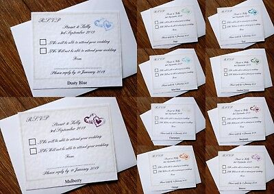 Appena Matrimonio Personalizzati Rsvp Biglietti E Buste * 11 Colori *-