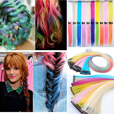 Wholesale Synthetic Grizzly Rainbow Hair piece Clip-in Hair Extensions Wig KAP10