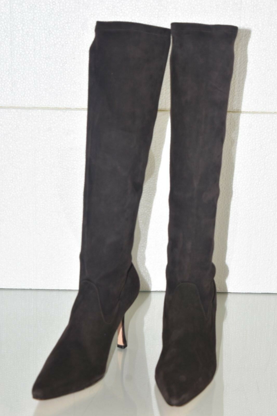 1495 NEW Manolo Blahnik PascalareTall Stretch Brown Suede Knee Boots Shoes 36.5