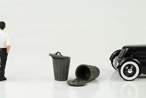 Poubelle Seau 2 Er Jeu Atelier Accessoire 1:18 American Diorama No Car Figurine