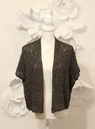 Sweater Garn Front Italiensk S Brun Ss Pointelle Open Fisher Eileen Cardigan Sz qfXgFzwF
