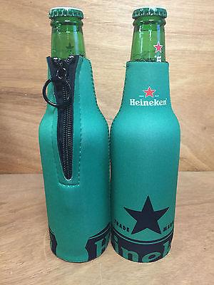 Heineken Beer Green Zip Up Bottle Cooler Koozie Coozie Set of 2 New & Free Shipn