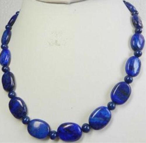 "Natural Oval Lapis Lazuli 13x18mm Bleu Foncé Perles Collier 18/"""