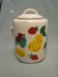 "Vintage McCoy Art Pottery Painted Fruit Cookie Jar 10"" tall GUC"