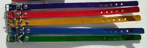 "#DC55 LOTof 5 WHOLESALE LEATHER 8""-10""PUPPY/CAT COLLAR ASSORTED COLORS"