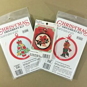 Lot-of-3-Christmas-ornament-embroidery-kits-cardinal-bird-bear-tree-vintage-new