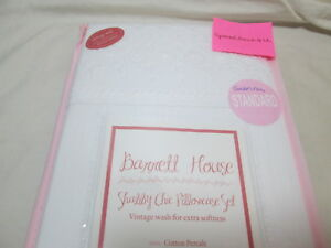 Barrett House Embroidery FLORAL 2 Shabby Chic Standard Pillowcases White Marrisa