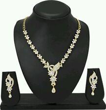 Indian Ethnic Designer Antique Gold Plated Diamond Necklace Earring Jewel Set