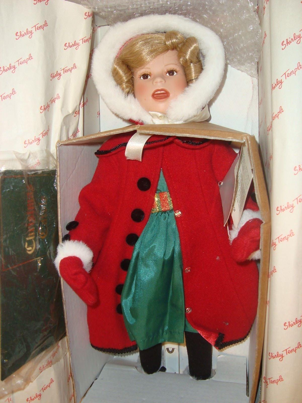 Vintage 1990's Danbury Mint SHIRLEY TEMPLE  Little Caroler  17  Porcelain Doll