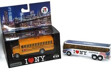 2 PACK I Love NY Diecast School & Sightseeing Buses with Pullback Motor Action