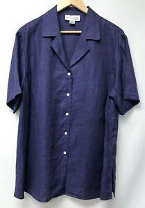 Details about Saks Fifth Avenue Salon Z Real Clothes Womens Plus Size 16  Top Purple Linen