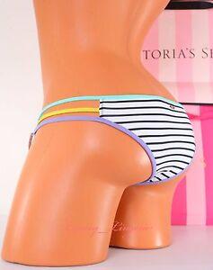 VICTORIA-039-S-SECRET-VS-Swim-Strappy-Cheeky-Bikini-Bottom-S-Small-Striped-Multi