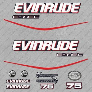 Evinrude 50 hp ETEC outboard engine decals sticker set reproduction Blue Cowl