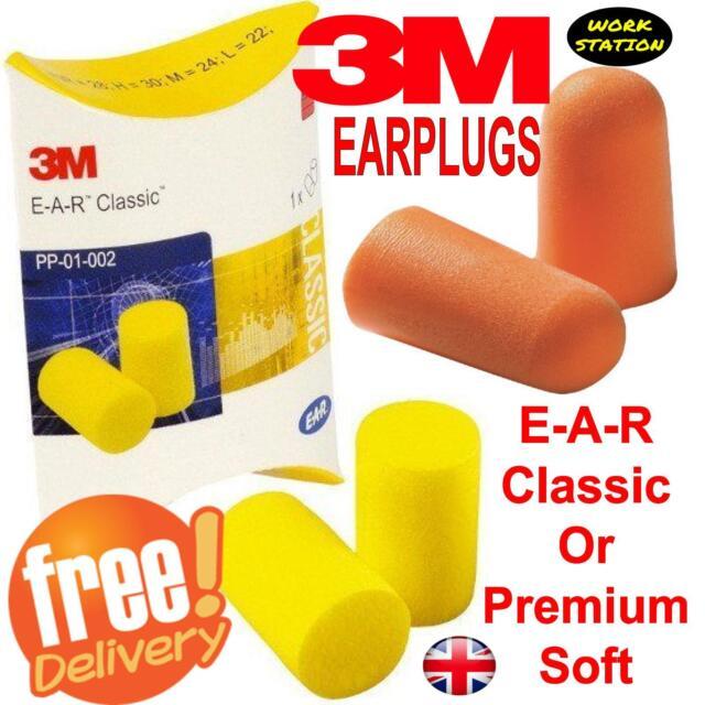 3M Earplugs Soft Foam Ear Plug Defenders for Noise Snoring Work Sleep FREEPOST