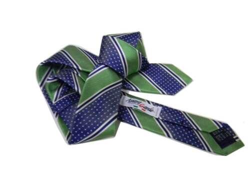 Cravatta blu a righe verdi e pois bianchi seta made in italy