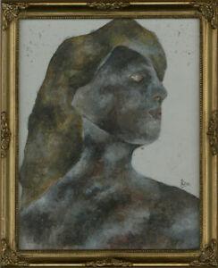 Ben-Carrivick-Signed-amp-Framed-Contemporary-Oil-Portrait-Black-and-Brown