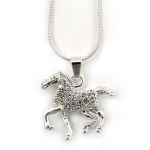 Silver Tone Clear Crystal 'Horse' Pendant With Snake Chain - 40cm Length/ 5cm