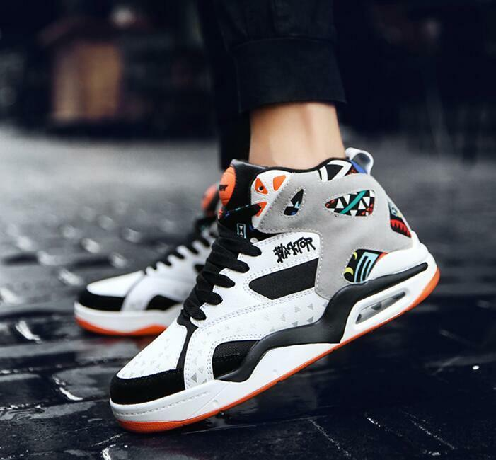 Mens Casual Basketball shoes Sports High Top Sneakers Large Size Running Youth T