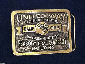 United-Way-Peabody-Coal-Employees-RWDSU-Solid-Brass-Vintage-Belt-Buckle