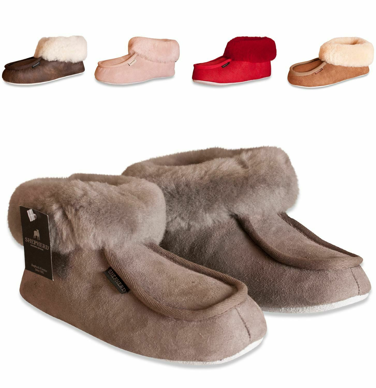 Shepherd donna Genuine Sheepskin Slippers Soft Suede Sole Real Ladies  MOA 724