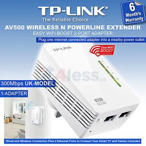 tp link av500 wifi powerline extender 300mbps 2 port ethernet home plug bridge ebay. Black Bedroom Furniture Sets. Home Design Ideas