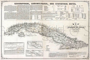 photo relating to Printable Map of Havana known as Information regarding Mapa de la isla de Cuba 1855 Traditional Repro MAP Print 24x36 Havana Cigar Island