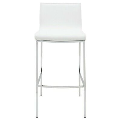 17 8 W Set Of 2 Counter Stool White Leather Seat Chrome Finished Steel Frame Ebay