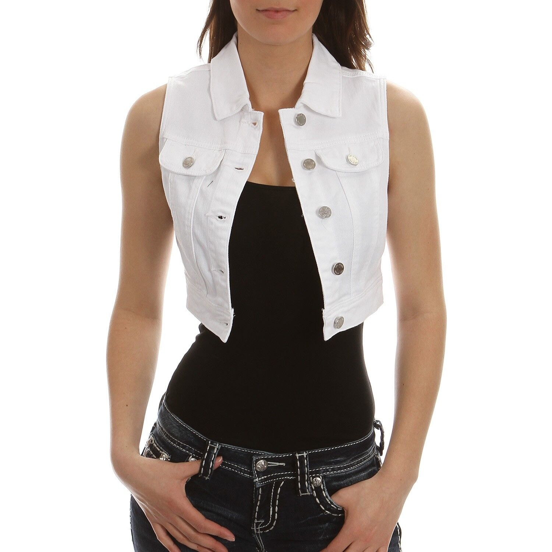 YMI   White Denim Cropped Cropped Cropped Vest 89215f