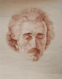 Boris Georgiev - Porträt Albert Einstein - Litho. - 1929 - 1. Andruck 12/30
