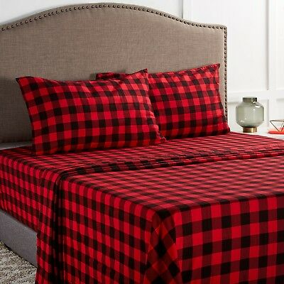Bed Sheet Set 100/% Cotton Striped//Plaids with Deep Pocket 4-Piece Queen Red