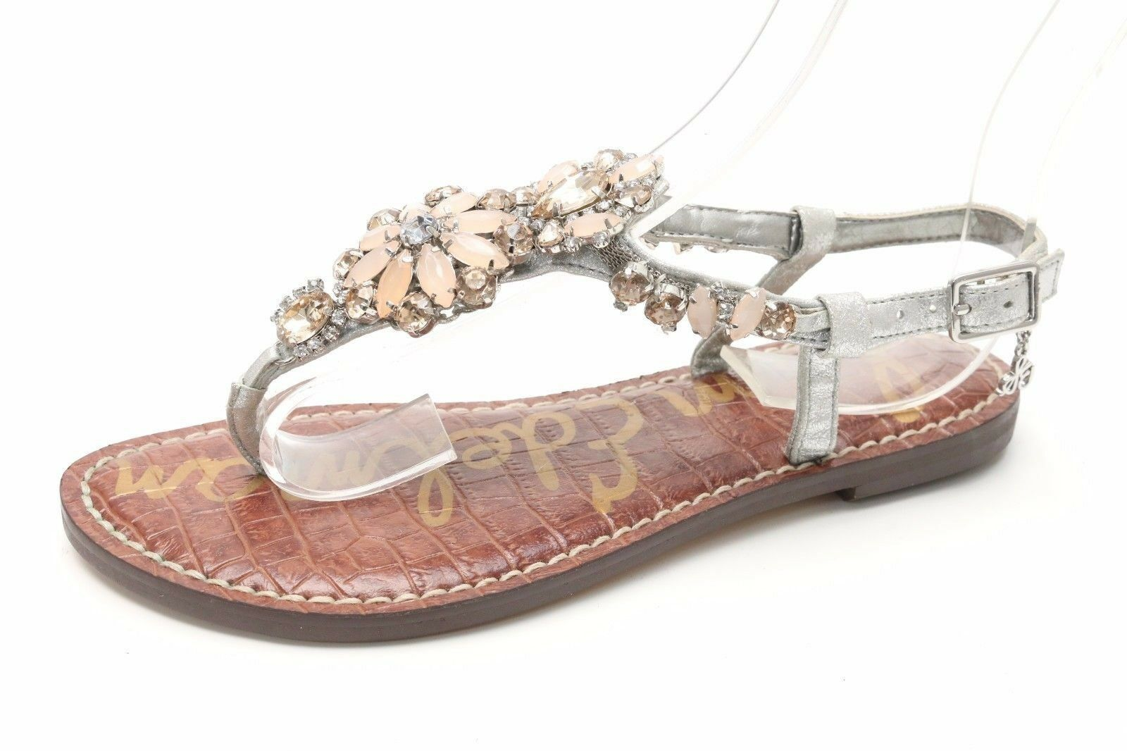 Sam Edelman GAREN gris   Jeweled Leather T-Bar Sandals Sz. 4 US 38.5 EU  129.95