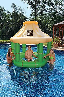Swimline 90245 Swimming Pool Inflatable Floating Tiki Swim Up Bar w/Ice Coolers