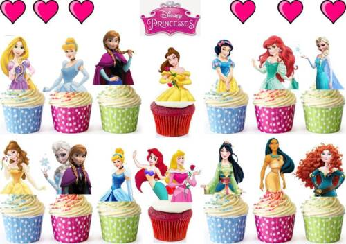 64 X DISNEY PRINCESS HALF BODY Edible Cup Cake Toppers Premium Wafer *STAND UP*