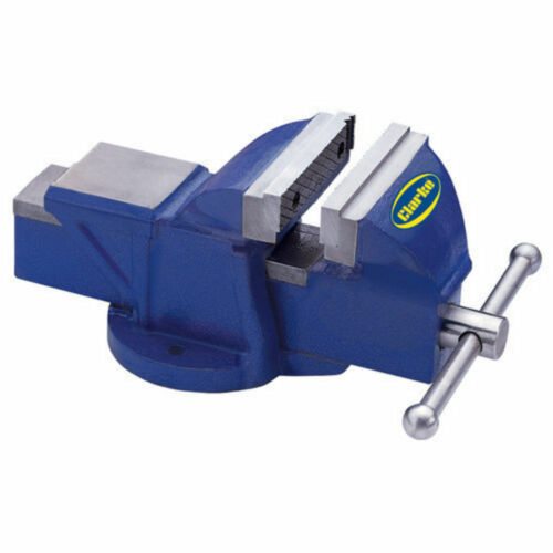 """CLARKE CV200BH  METALWORK FIXED BENCH VICE 8/"""" 200mm BLUE Weight 27kg"""
