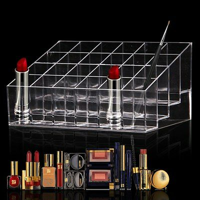 Clear Acrylic 24 Lipstick Holder Display Stand Cosmetic Organizer Makeup Case AU