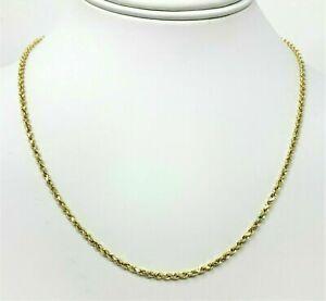 14K-Solid-Yellow-Gold-Necklace-Rope-Chain-16-039-039-2-00MM-Solid