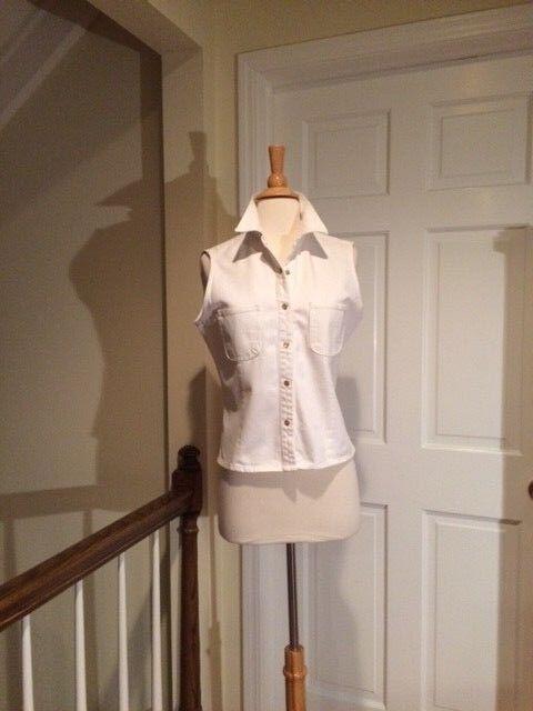 Ralph Lauren White Denim Sleeveless Snap Front Blouse Top Size Large