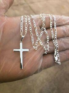925-Sterling-Silver-Cross-24-039-Necklace-Pendant-Men-Women