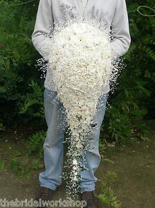 XL-Large-Wedding-Flowers-Shower-Bride-Bouquet-Crystal-Diamante-Pearls-amp-Roses